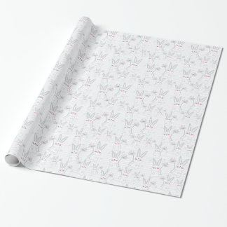 Lovely cute rabbit bunny blue grey pattern wrapping paper