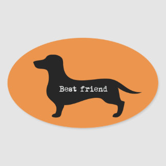 Lovely dachshund silhouette Best Friend Oval Sticker