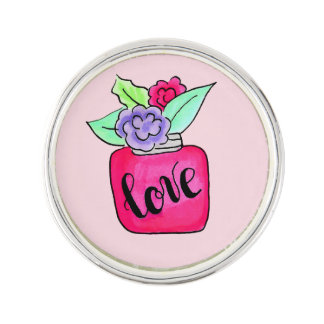 Lovely doodle. Flowers Lapel Pin