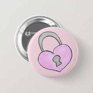 Lovely doodle. Heart lock 2 Inch Round Button