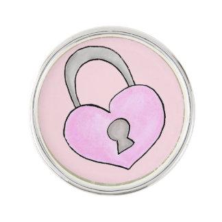 Lovely doodle. Heart lock Lapel Pin
