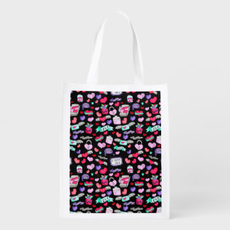 Lovely doodle reusable grocery bag