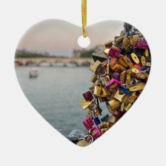 Lovely Evening Sky in Paris with Love Locks Ceramic Heart Ornament
