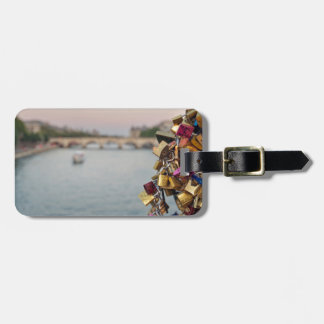 Lovely Evening Sky in Paris with Love Locks Luggage Tag