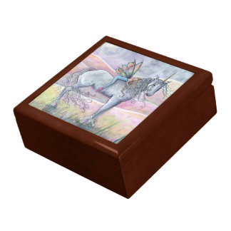 Lovely Fairy and Unicorn Wooden Trinket Box