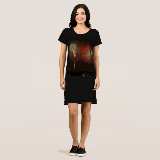 Lovely Fireworks Display, Women's T-Shirt Dress