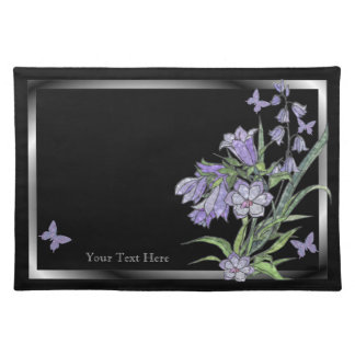Lovely Floral  Butterfly Placemat Black Background