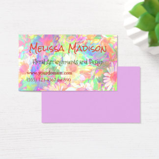 Lovely Floral Design Coloured Flowers Customized Business Card