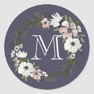 Lovely Floral Round Sticker - purple