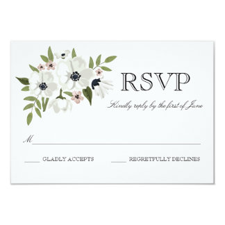 "Lovely Floral RSVP Card 3.5"" X 5"" Invitation Card"