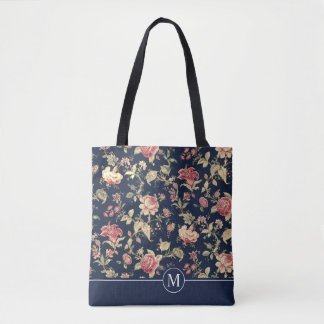 Lovely Floral Shower Monogram | Tote Bag