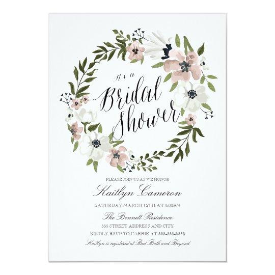 Lovely Floral Wreath- Bridal Shower Invitation