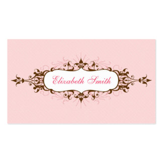 Lovely Flourish Business Card in Pink and Brown