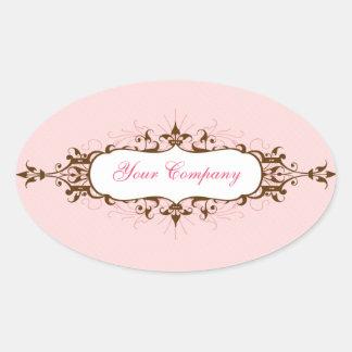 Lovely Flourish Sticker Pink & Brown