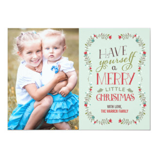 "Lovely Garlands Christmas Photo Card - Light Blue 5"" X 7"" Invitation Card"