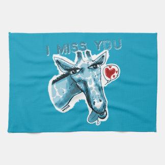 lovely giraffe cartoon style funny illustration kitchen towel