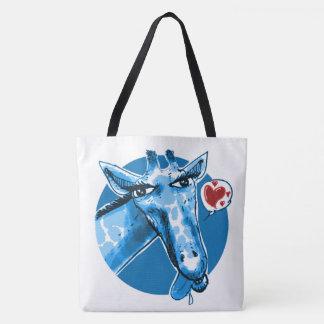 lovely giraffe cartoon style funny illustration tote bag