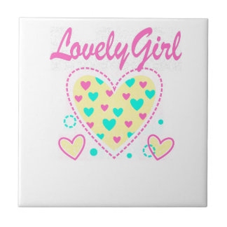 lovely girl heart cool design tile
