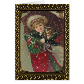 Lovely Girl With Puppy - Vintage Fine Art Card