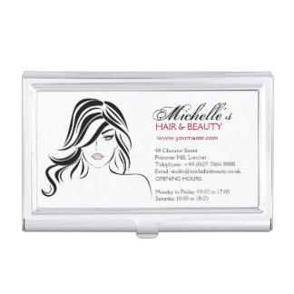 Lovely girl with wavy hair and Makeup Icon Business Card Holder