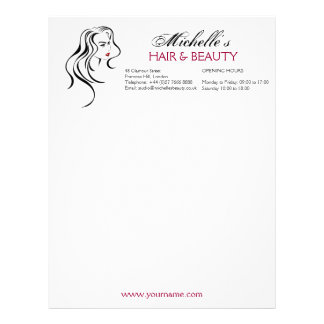 Lovely girl with wavy hair and Makeup Icon Letterhead