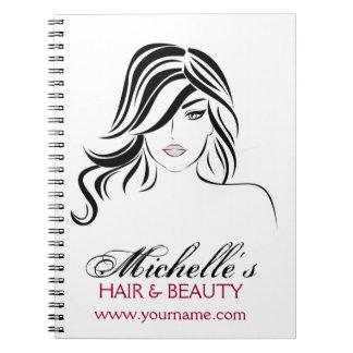 Lovely girl with wavy hair and Makeup Icon Notebooks