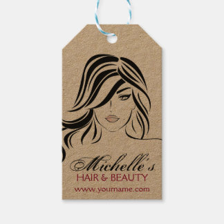 Lovely girl with wavy hair and Makeup Icon Pack Of Gift Tags