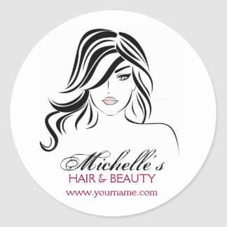Lovely girl with wavy hair and Makeup Icon Round Sticker