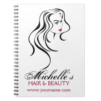 Lovely girl with wavy hair and Makeup Icon Spiral Notebook
