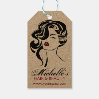 Lovely girl with wavy hair Makeup Icon Gift Tags