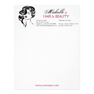 Lovely girl with wavy hair Makeup Icon Letterhead