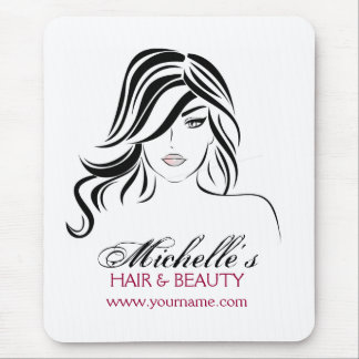 Lovely girl with wavy hair Makeup Icon Mouse Pad