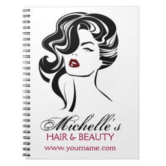 Lovely girl with wavy hair Makeup Icon Notebook