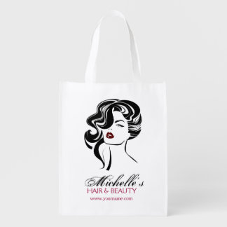 Lovely girl with wavy hair Makeup Icon Reusable Grocery Bag