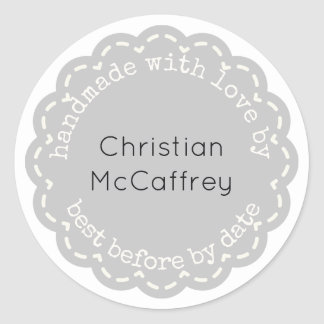Lovely Gray Rosette Handmade Custom Label