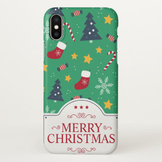 Lovely Green Christmas Ditsy | iPhone X Case