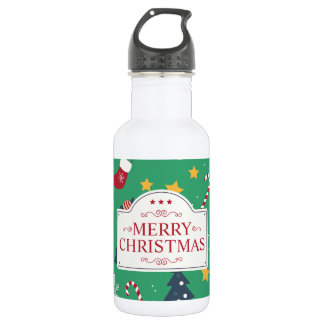 Lovely Green Christmas Ditsy | Water Bottle