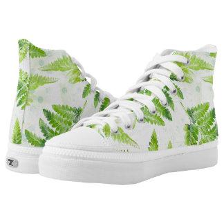 Lovely Green Fern Botanical Watercolor Pattern High Tops