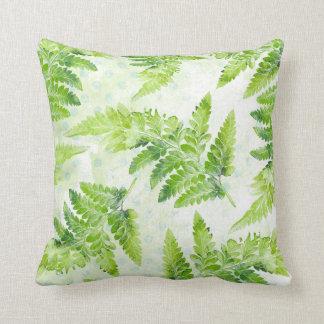 Lovely Green Fern Botanical Watercolor Pattern Throw Pillow