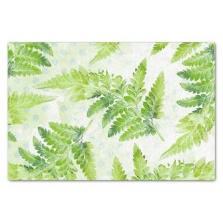 Lovely Green Fern  Botanical Watercolor Pattern Tissue Paper