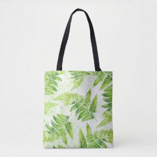 Lovely Green Fern Leaves Botanical Watercolor Patt Tote Bag