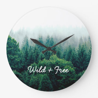 Lovely Green Forest Wild and Free Large Clock