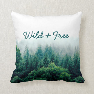Lovely Green Forest Wild & Free Throw Pillow