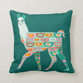 Lovely Green Llama - Throw Pillow