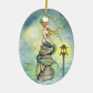 Lovely Green Mermaid by Molly Harrison Ceramic Ornament