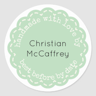 Lovely Green Rosette Handmade Custom Label
