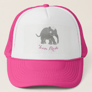 Lovely Grey Team Bride Vintage Elephant Trucker Hat