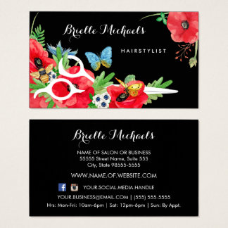 Lovely Hairstylist Red Poppy Floral With Scissors Business Card
