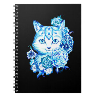Lovely Hand Drawn 10 Blues Cat School Notebook