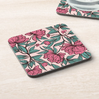 Lovely Hand Drawn Pink Floral   Coaster